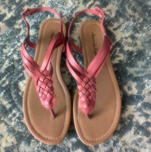 American Eagle Braided Red Leather Sandals